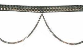 2 soros bőr öv, piramis szegeccsel + lánc