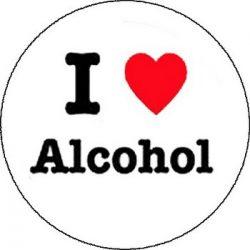 I LOVE ALCOHOL (nagy jelvény, 3,7 cm)