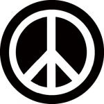 PEACE: b/w (circle, 95 mm) (felvarró)